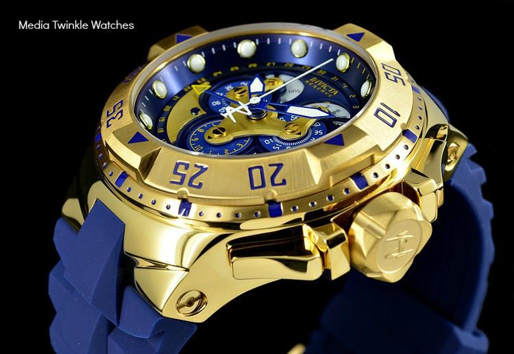 Invicta 18558 Reserve Excursion Master Calendar 5040F Quartz Blue Dial 18k Gold Tone Watch