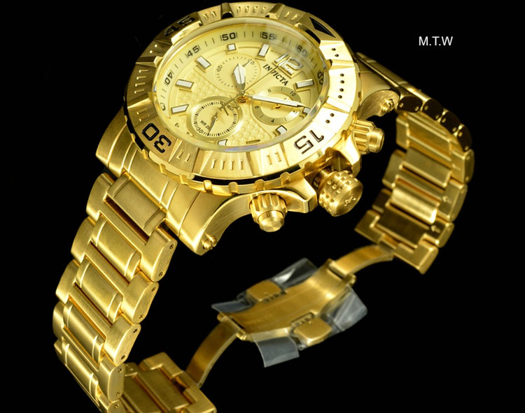 Invicta 48MM Ocean Reef Reserve Swiss Made Chronograph 18k Gold Tone Bracelet Watch | Free Shipping