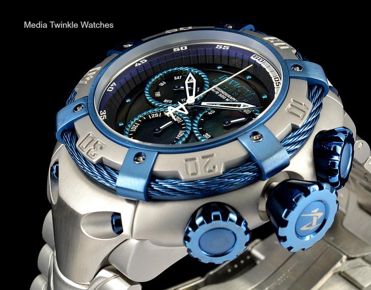 Invicta 21343 Reserve 52mm Thunderbolt Swiss Made Quartz Chronograph Silver & Blue Bracelet Watch