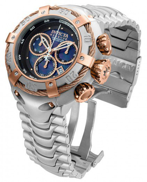 Invicta 21342 Reserve 52mm Thunderbolt Swiss Made Quartz Chronograph Rose Gold Tone & Silver Bracelet Watch