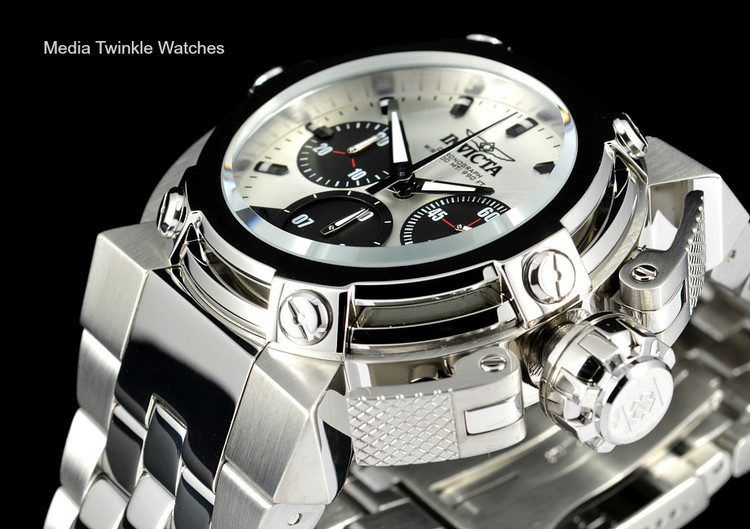 Invicta 22425 46mm X-Wing Quartz Chronograph Silver Dial All Stainless steel Bracelet Watch