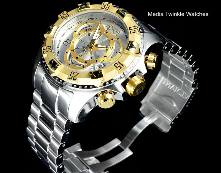 Invicta 1877 Reserve Excursion Swiss Quartz Chronograph Silver Dial Gold Bezel Stainless Steel Watch | Free Shipping
