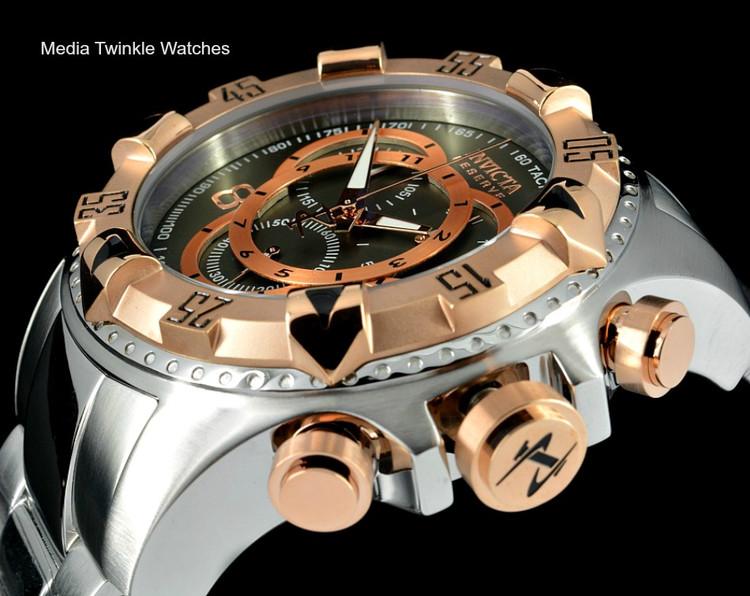 Invicta 1879 Reserve Excursion Swiss Quartz Chronograph Gray Dial Rose Gold Bezel Bracelet Watch   Free Shipping