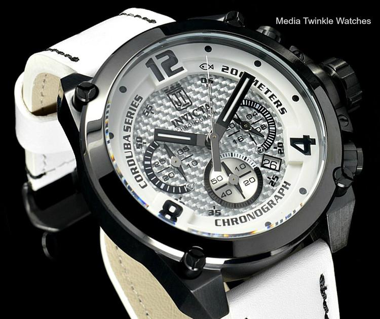 Invicta 23295 Corduba 50mm JASON TAYLOR BLACK White Quartz Leather Watch w/JT 3 SLOTCase