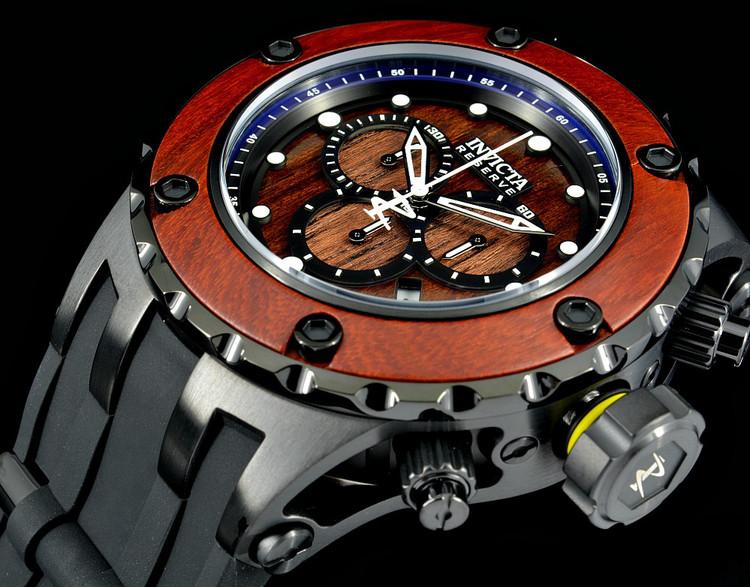 Invicta 21721 Reserve Subaqua Specialty Swiss Quartz Wood Dial Black Strap Watch