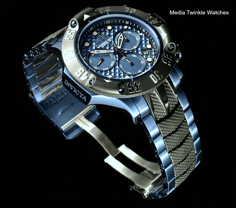 Invicta 50mm Subaqua 23807 Poseidon Quartz Chronograph Blue & Black Two Tone Bracelet Watch