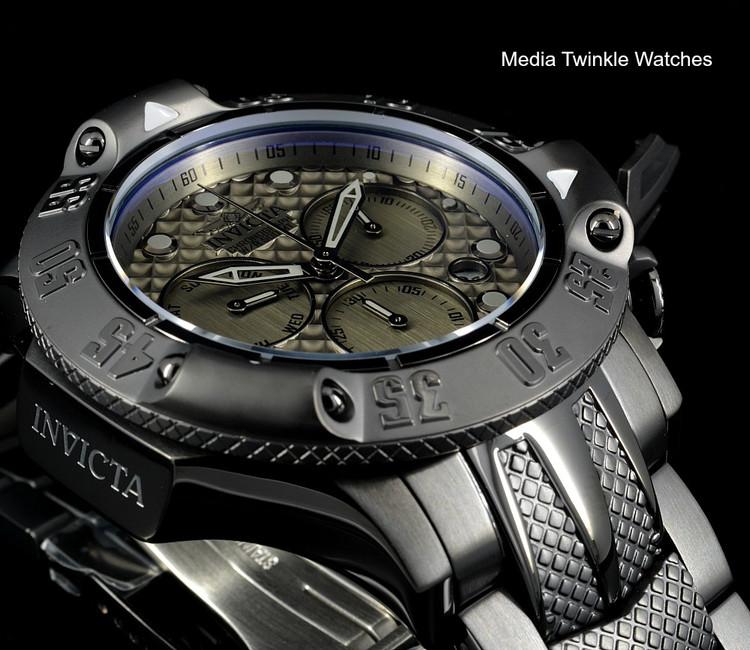 Invicta 50mm Subaqua 23808 Poseidon Quartz Chronograph Gunmetal Dial Black Bracelet Watch