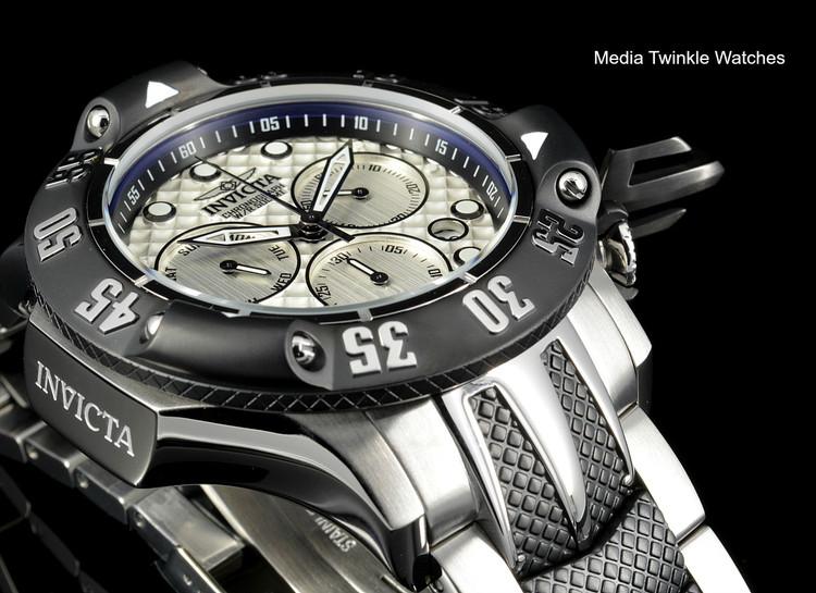 Invicta 50mm Subaqua 23804 Poseidon Quartz Chronograph Silver & Black Two Tone Bracelet Watch