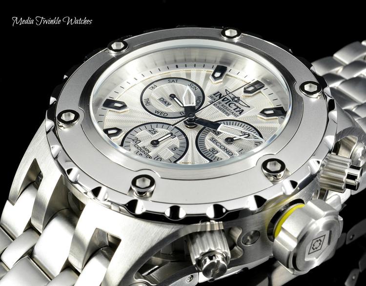 Invicta 52mm Specialty Subaqua Silver Guilloché Dial All Silver Bracelet Watch 23918