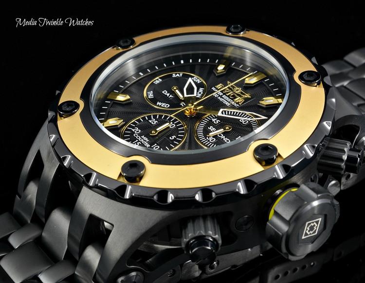 Invicta 52mm Specialty Subaqua Black Guilloché Dial Gold Tone Bezel Bracelet Watch 23926