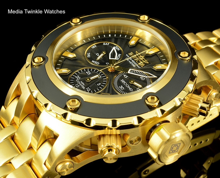 Invicta 52mm Specialty Subaqua Black Guilloché Dial 18k Gold Tone Bracelet Watch 23921