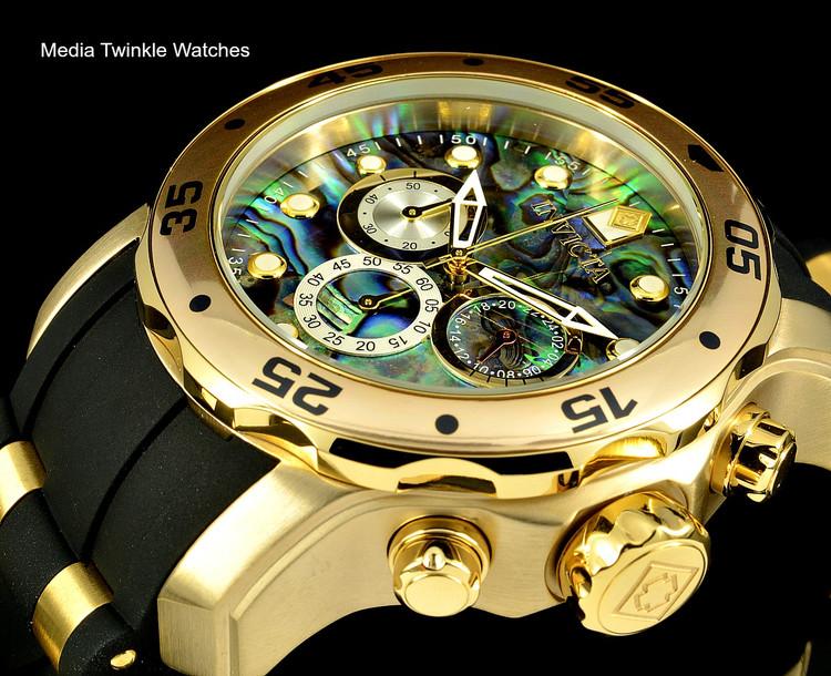 Invicta 48mm Pro Diver Abalone Dial Quartz Chronograph Gold Tone Silicone Watch 24841