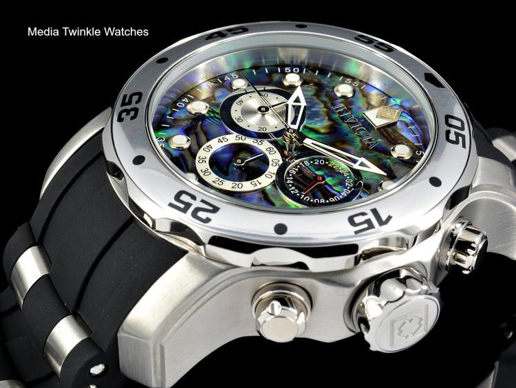 Invicta 48mm Pro Diver Abalone Dial Quartz Chronograph Silver Tone Silicone Watch 24838