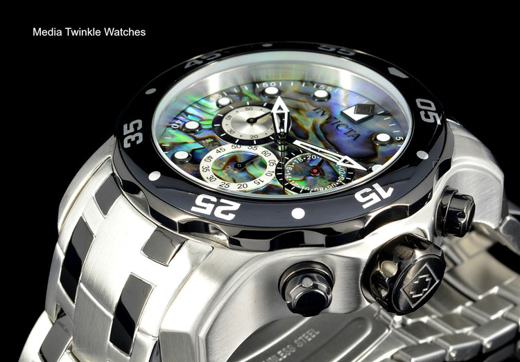 Invicta 48mm Pro Diver Abalone Dial Quartz Chronograph Two Tone Bracelet Watch 24837