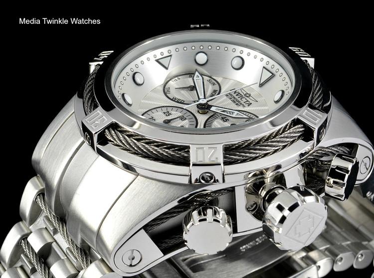 Invicta Bolt Zeus Swiss Quartz Chronograph Silver Dial Stainless Steel Bracelet Watch 23909