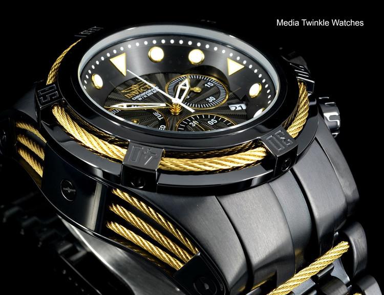 Invicta Bolt Zeus Swiss Quartz Chronograph Black Dial Gold Tone Cables Bracelet Watch 23917