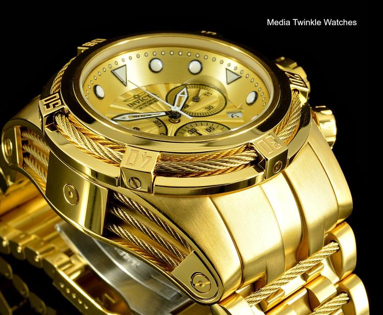 Invicta Bolt Zeus Swiss Quartz Chronograph Gold Dial All Gold Tone Bracelet Watch 23911