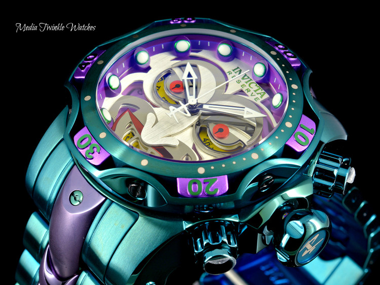 Invicta 52MM Reserve VENOM JOKER DC SWISS Quartz Ltd Edition Bracelet Watch - 30124