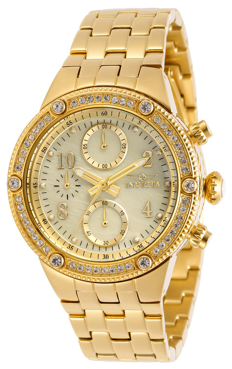 Invicta Women's Angel Quartz Chronograph Gold M.O.P Dial Crystal Accented Stainless Silver Steel Bracelet Watch