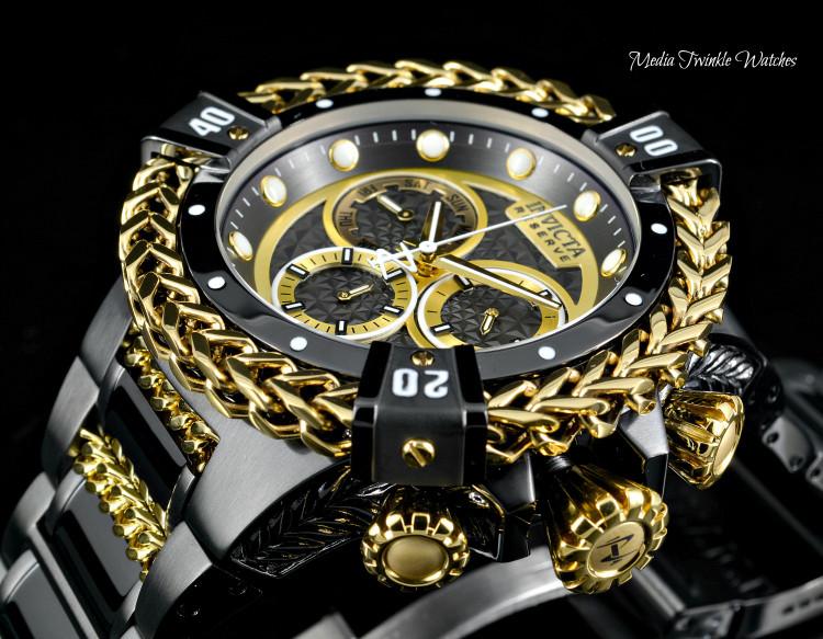 Invicta 52mm Reserve Bolt Hercules Black & Gold Quartz Chronograph Watch 30546
