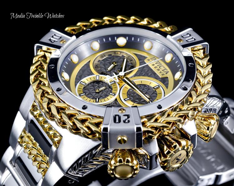 Invicta 52mm Reserve Bolt Hercules Black Dial Two Tone Quartz Chronograph Watch 30542