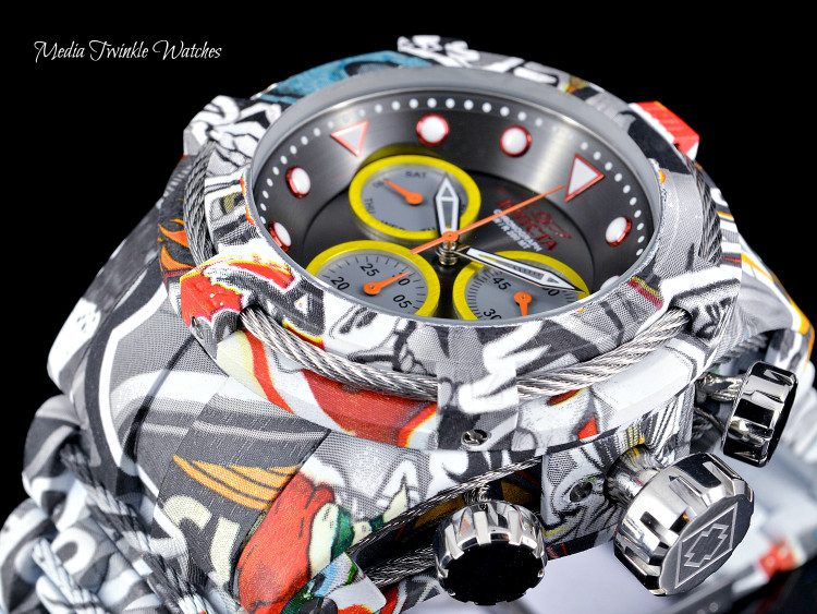 Invicta 52mm Bolt Zeus Quartz Chronograph Gray Dial GRAFFITI HYDROPLATED Bracelet Watch