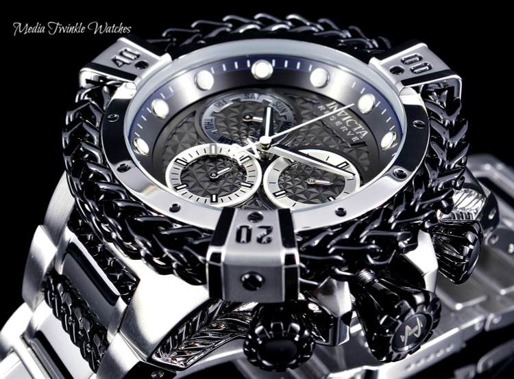 Invicta 52mm Reserve Bolt Hercules Black Dial Quartz Chronograph Silver Bracelet Watch 30541