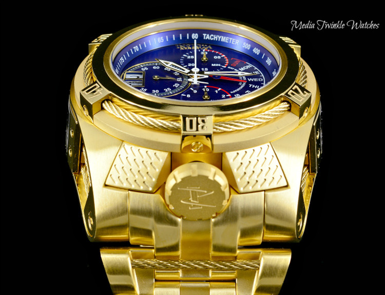 Invicta 26389 Reserve 53mm Bolt Zeus Tria Blue Dial Gold Tone Swiss Quartz Chronograph GMT Stainless Steel Bracelet Watch