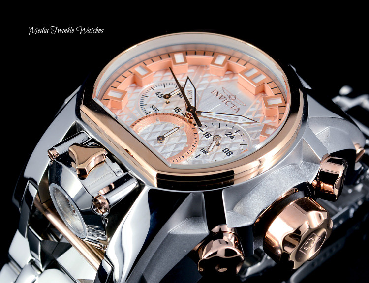 Invicta 52mm Bolt Zeus MAGNUM Quartz Dual Movement Silver & Rose Gold Bracelet Watch