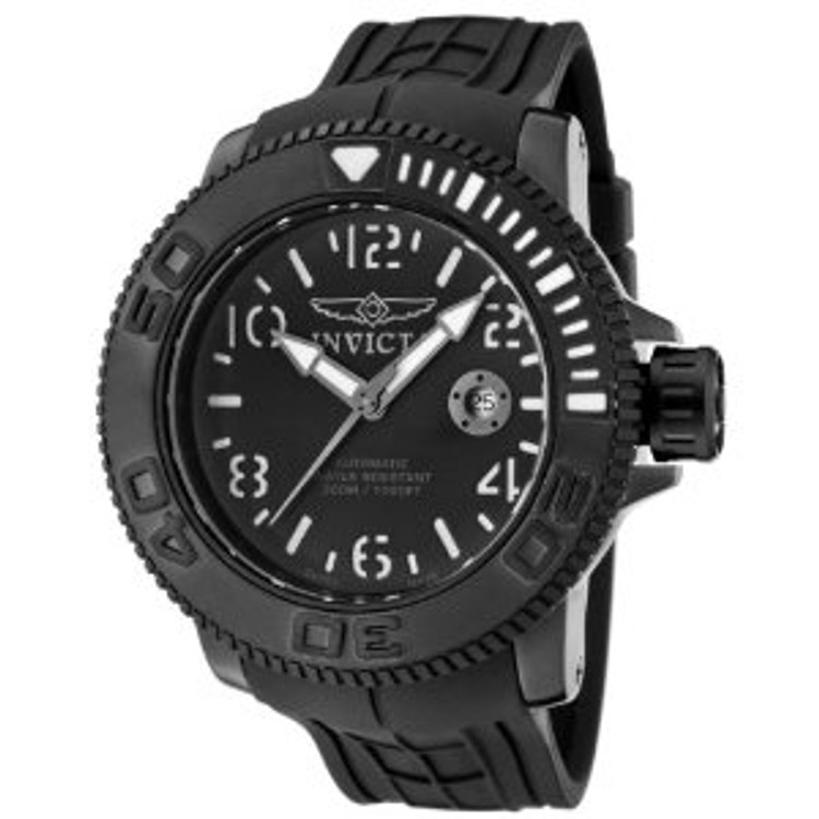Invicta 1073 Men's Invicta II Automatic Black Dial Black Rubber Watch | Free Shipping