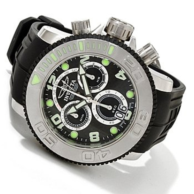 Invicta 1063 Mid Size Sea Hunter Stainless Steel Swiss Made Quartz Chrono Retrograde Poly Strap Watch | Free Shipping
