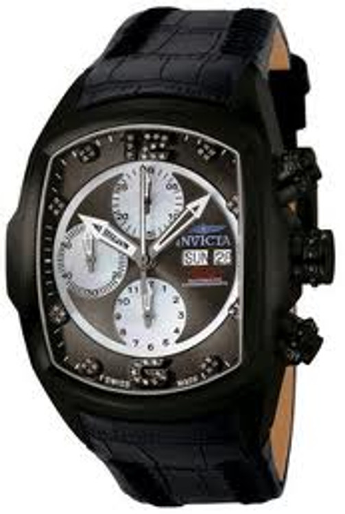 Invicta 0513 Lupah Revolution Automatic Chronograph Diamond Accented Black Leather Watch | Free Shipping