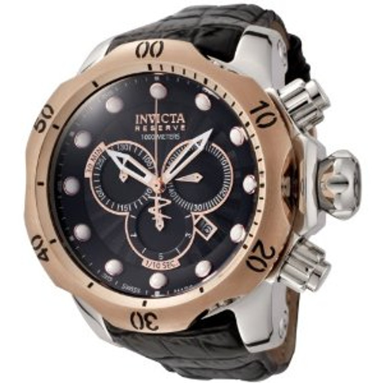 Invicta 0360 Reserve Venom Collection Chronograph Black Leather Watch | Free Shipping