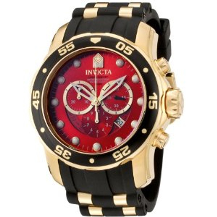 Invicta 6982 Men's Pro Diver Collection Chronograph Red Dial Black Polyurethane Watch | Free Shipping