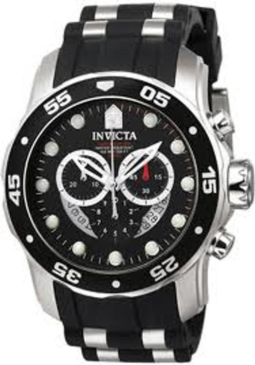 Invicta 6977 Men's Pro Diver Collection Chronograph Black Dial Black Polyurethane Watch | Free Shipping
