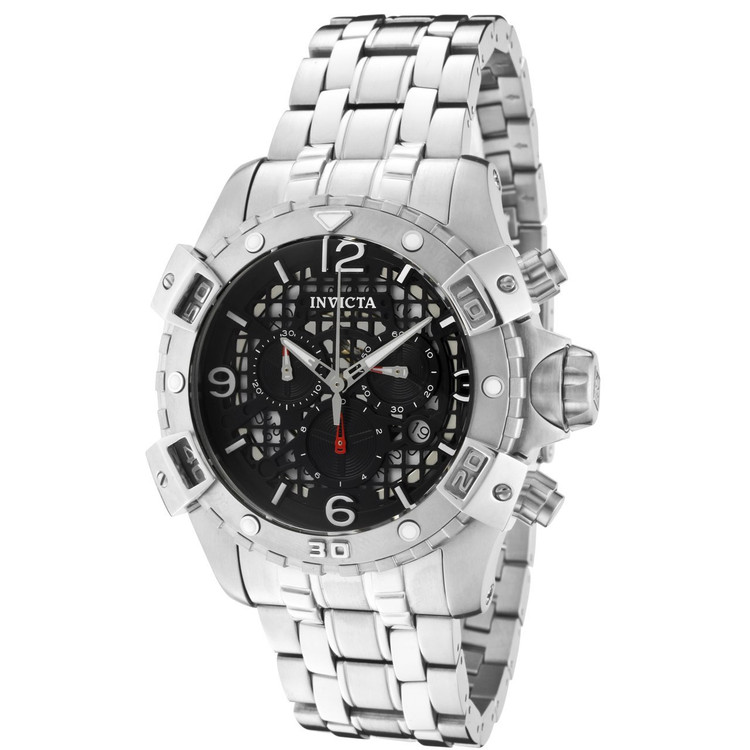 Invicta 1229 Sea Thunder Specialty Black Dial Swiss Parts Chronograph Stainless Steel Bracelet Watch | Free Shipping