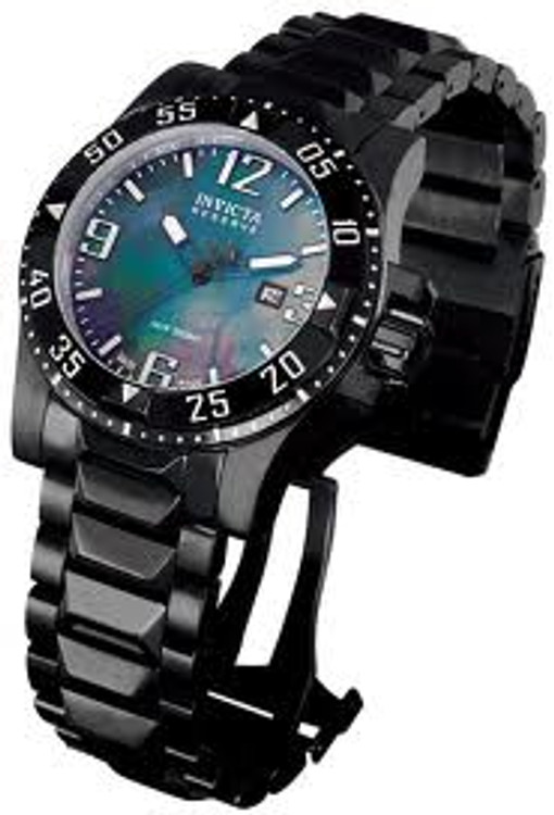 Invicta 0516 Men's Reserve Collection Grey Mother-Of-Pearl Dial Black Ion-Plated Stainless Steel Watch | Free Shipping