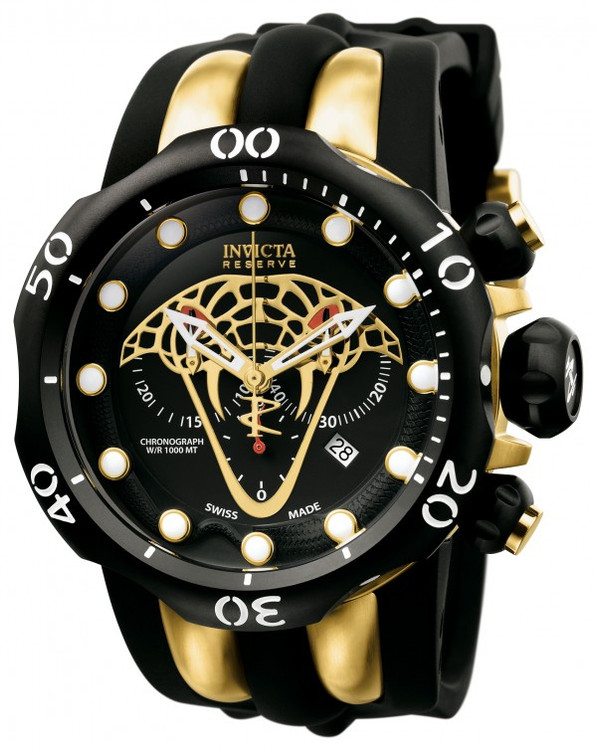 Invicta 0974 Reserve Venom VIPER Swiss Made Chronograph Stainless Steel Case Polyurethane Strap | Free Shipping