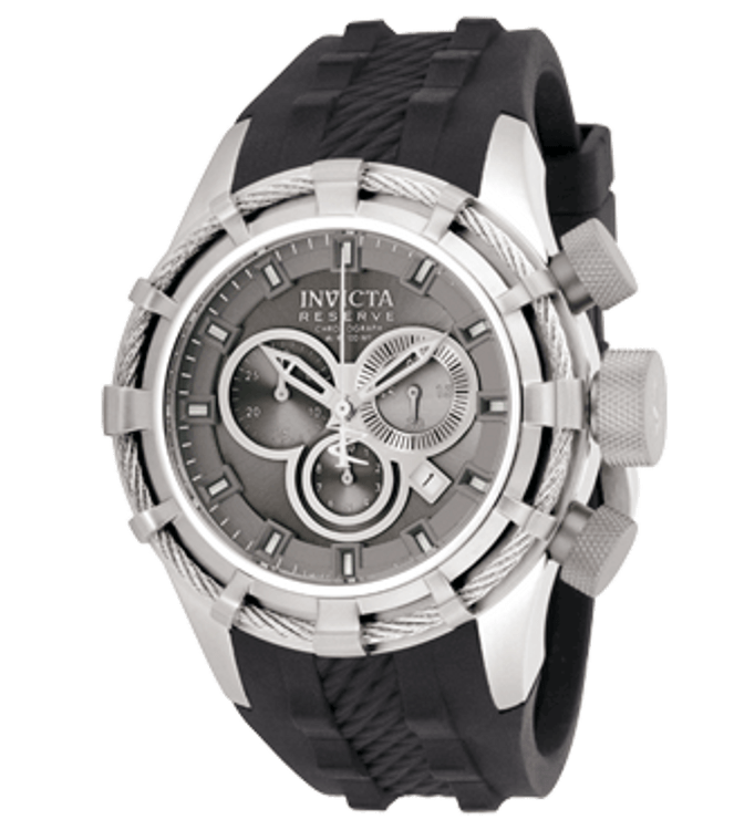Invicta 1223 Reserve Bolt Swiss Made Chronograph Gray Dial Gray Polyurethane Watch | Free Shipping