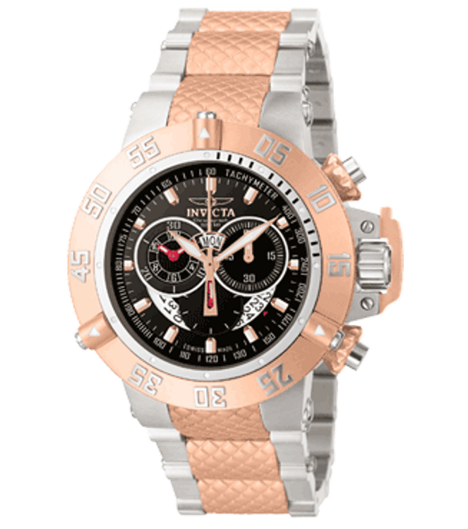 Invicta 4697 Mens Subaqua Noma III Swiss Made Chronograph 23k Rose Gold Plated Stainless Steel Black Dial Watch | Free Shipping