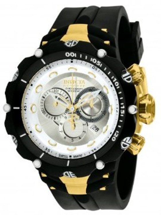 Invicta 1523 Reserve VENOM II Second Generation Swiss Made Chronograph White Dial Black and Gold Stainless Steel Case Polyurethane Watch (NEW MODEL) | Free Shipping