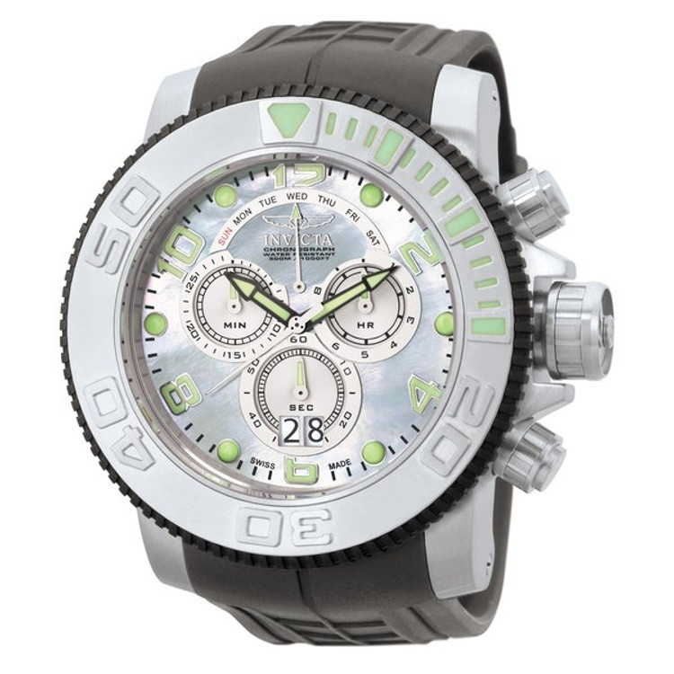 Invicta 0861 Men's Pro Diver Collection Sea Hunter Swiss Chronograph Platinum MOP Dial Grey Polyurethane Watch PLUS 3 SLOT DIVE CASE | Free Shipping