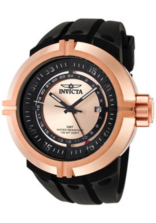 Invicta 0838 Force Contender GMT Rose Tone Black Polyurethane Strap Watch | Free Shipping