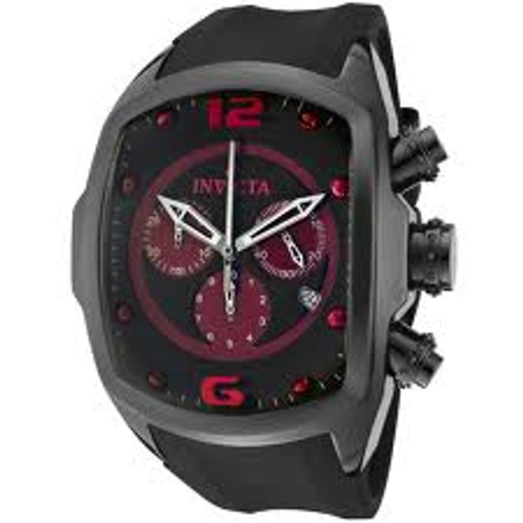 Invicta 0313 Men's Lupah Revolution Ceramic Swiss Chronograph Red Dial Black Polyurethane Strap Watch | Free Shipping