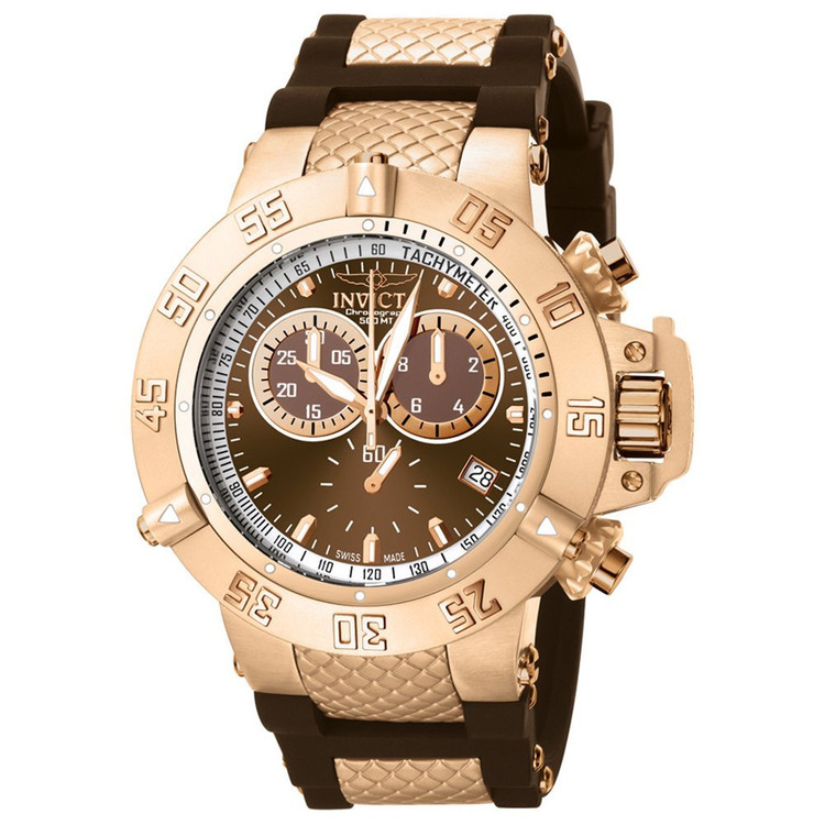 Invicta 5510 Subaqua Noma III Swiss Quartz Chronograph Brown Dial Brown Polyurethane Strap Watch | Free Shipping