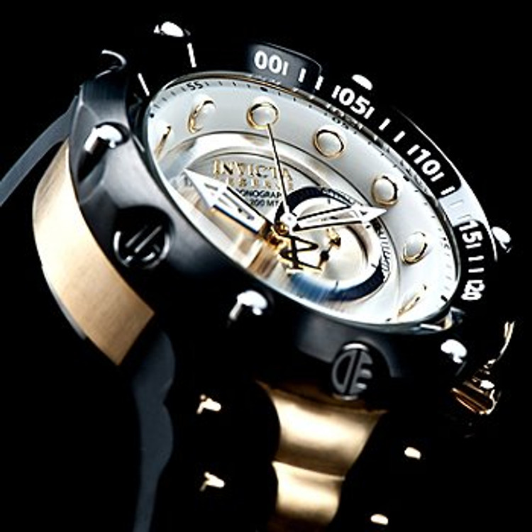 Invicta 1526 Reserve Venom II 2 Second Generation Rose Tone Case Black Polyurethane Strap Watch | Free Shipping