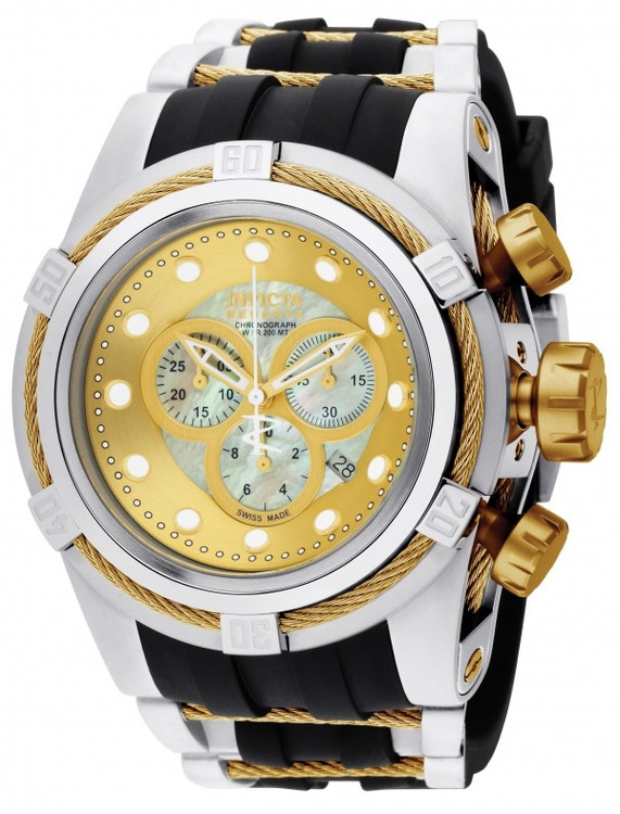 Invicta 0828 Reserve Bolt Zeus Swiss Made Quartz Chronograph Mother-of-Pearl Dial Polyurethane Strap Watch (Zeus) | Free Shipping