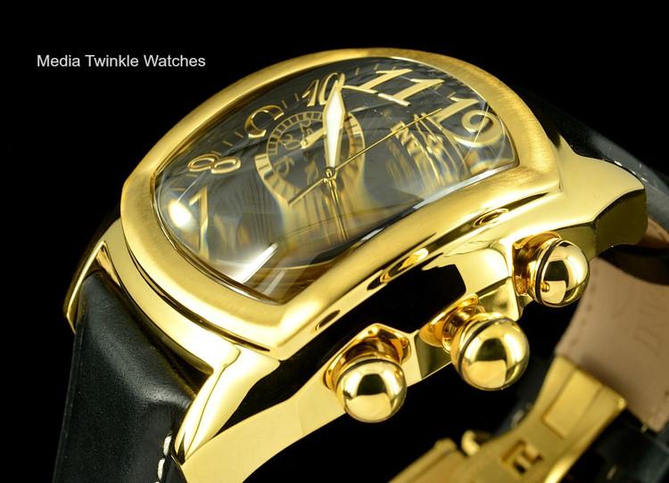 Invicta 13692 Men's Dragon Lupah Swiss Quartz Chronograph Gold Tone Black Leather Strap Watch | Free Shipping