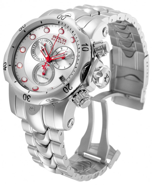 Invicta 11784 Reserve Men's Venom Silver Sunray Dial Red Accents Swiss Made Quartz Chronograph Stainless Steel Bracelet Watch | Free Shipping
