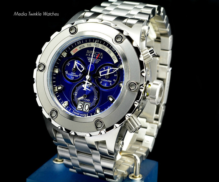Invicta 1564 Men's Reserve Swiss Made Chronograph Day Retrograde Big Date Blue Dial Stainless Steel Bracelet Watch | Free Shipping